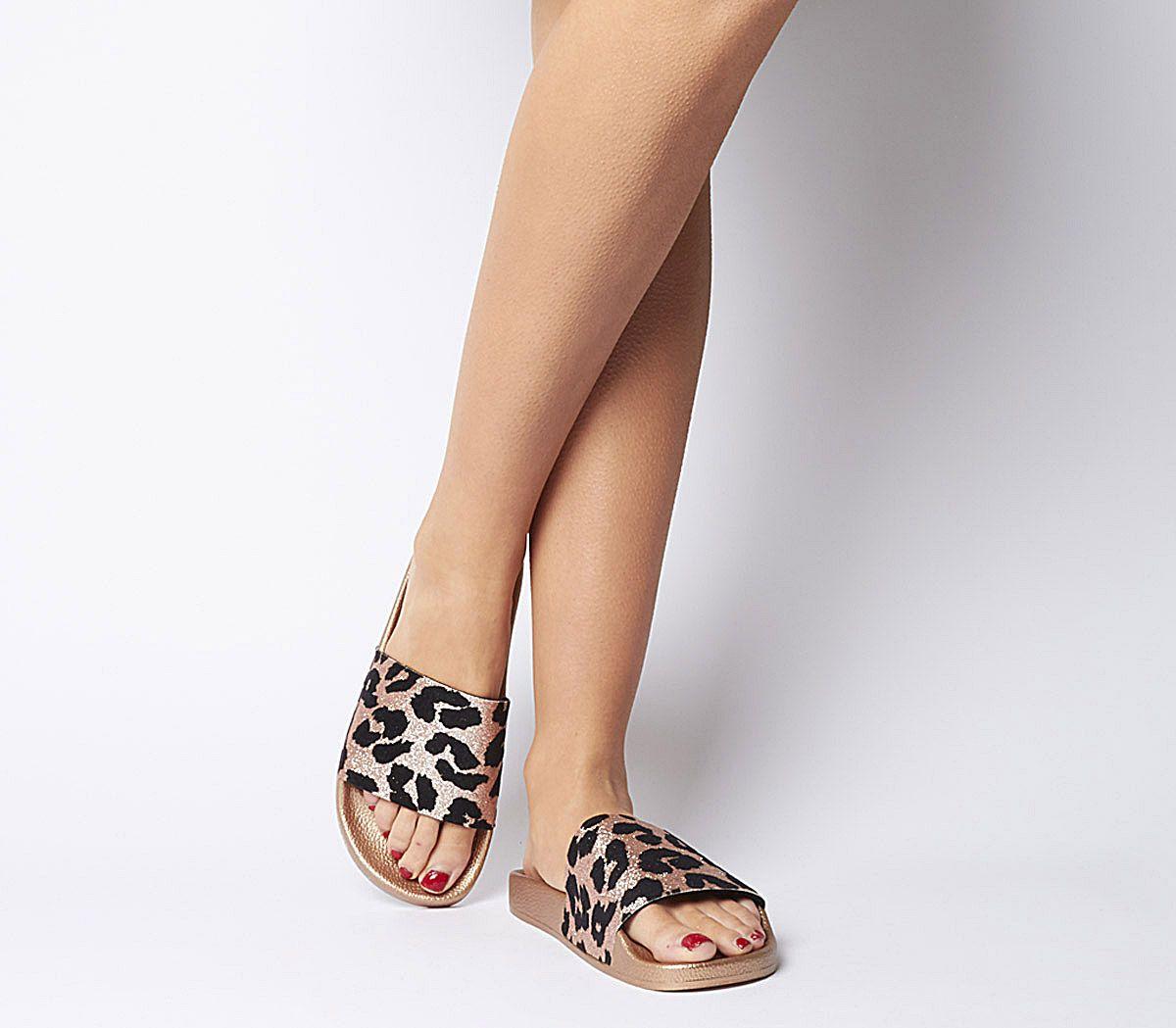 91e6621274ff Office Smashing Slides Rose Gold Leopard Glitter - Sandals