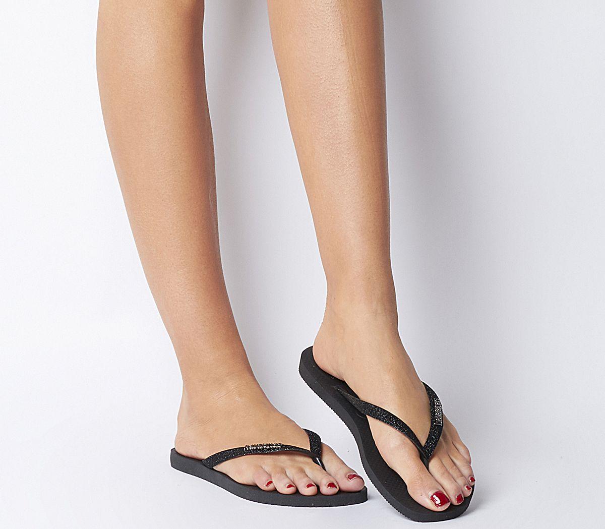 1411efb5d95b Havaianas Slim Glitter Flip Flops Black - Sandals