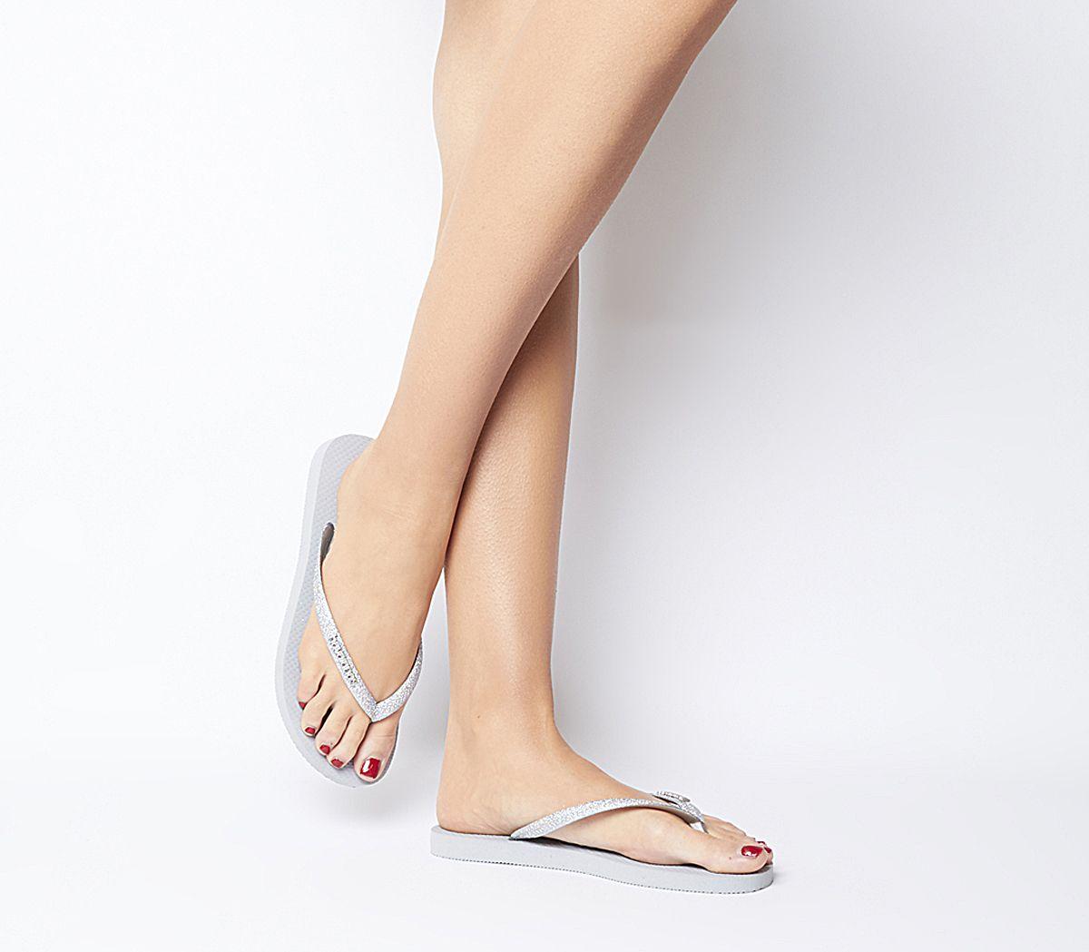 4e1ed8fd5d0e Havaianas Slim Glitter Flip Flops Silver - Sandals
