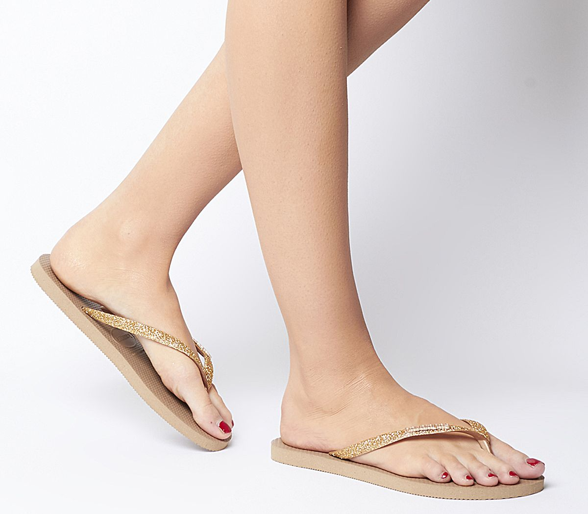 6df058bd68fe Havaianas Slim Glitter Flip Flops Rose Gold - Sandals
