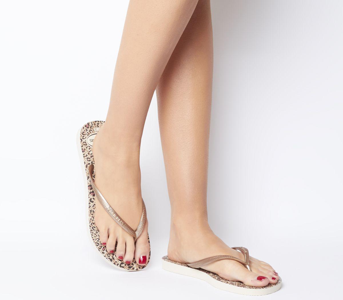 27ad587ff Havaianas Slim Animals Flip Flops Beige Rose Gold - Sandals