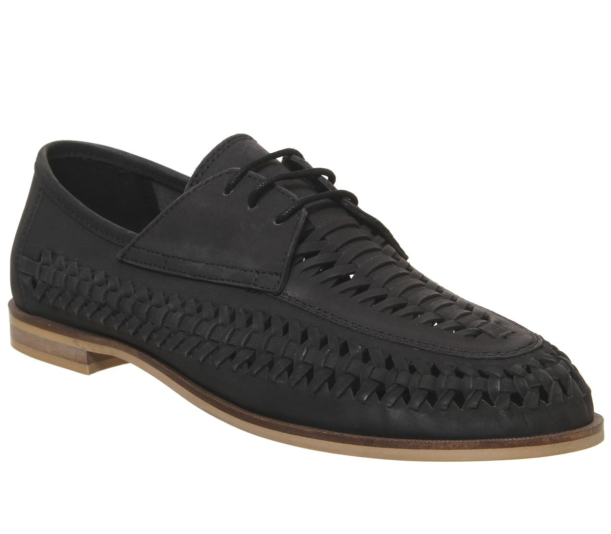 d3cbf1a5534 Office Lambeth Weave Lace Up Shoes Black Washed Leather - Casual