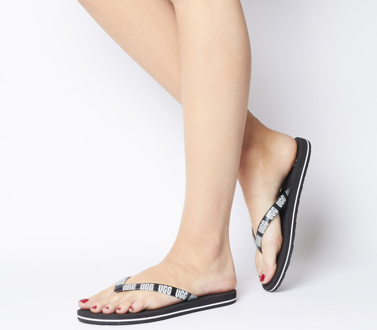 4ecdcabd9f68 UGG Simi Graphic Flip Flops Black - Sandals