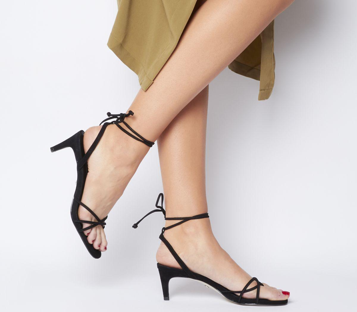 6d7ade4caca Office Milo Toe Loop Sandals Black Nubuck - Mid Heels