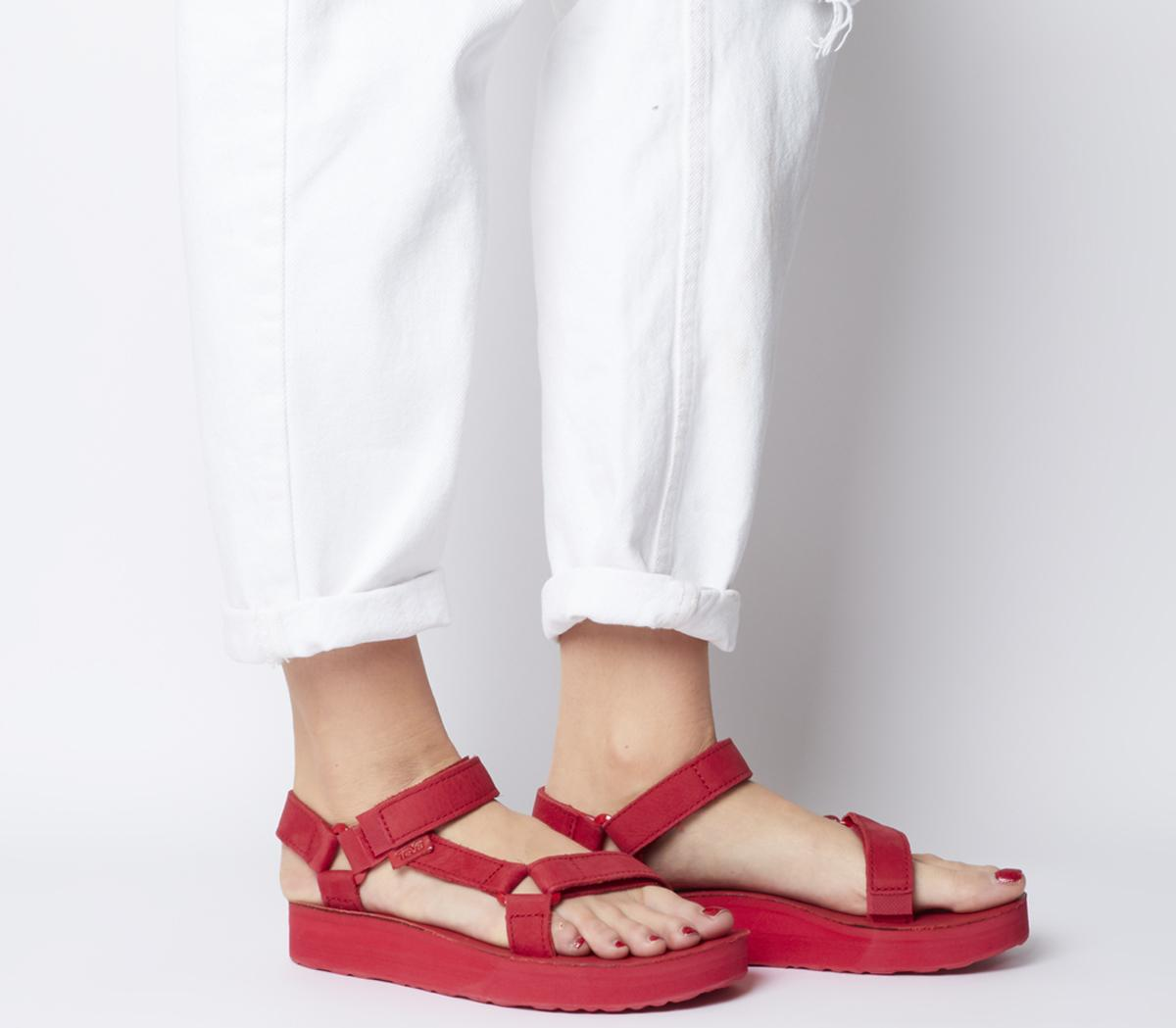 7efaf9d6e Teva Midform Universal Leather Sandals Red - Sandals