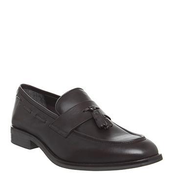 Mens Office Lewisham Woven Tassel Loafers Bordo Hi Shine Leather Casual Shoes