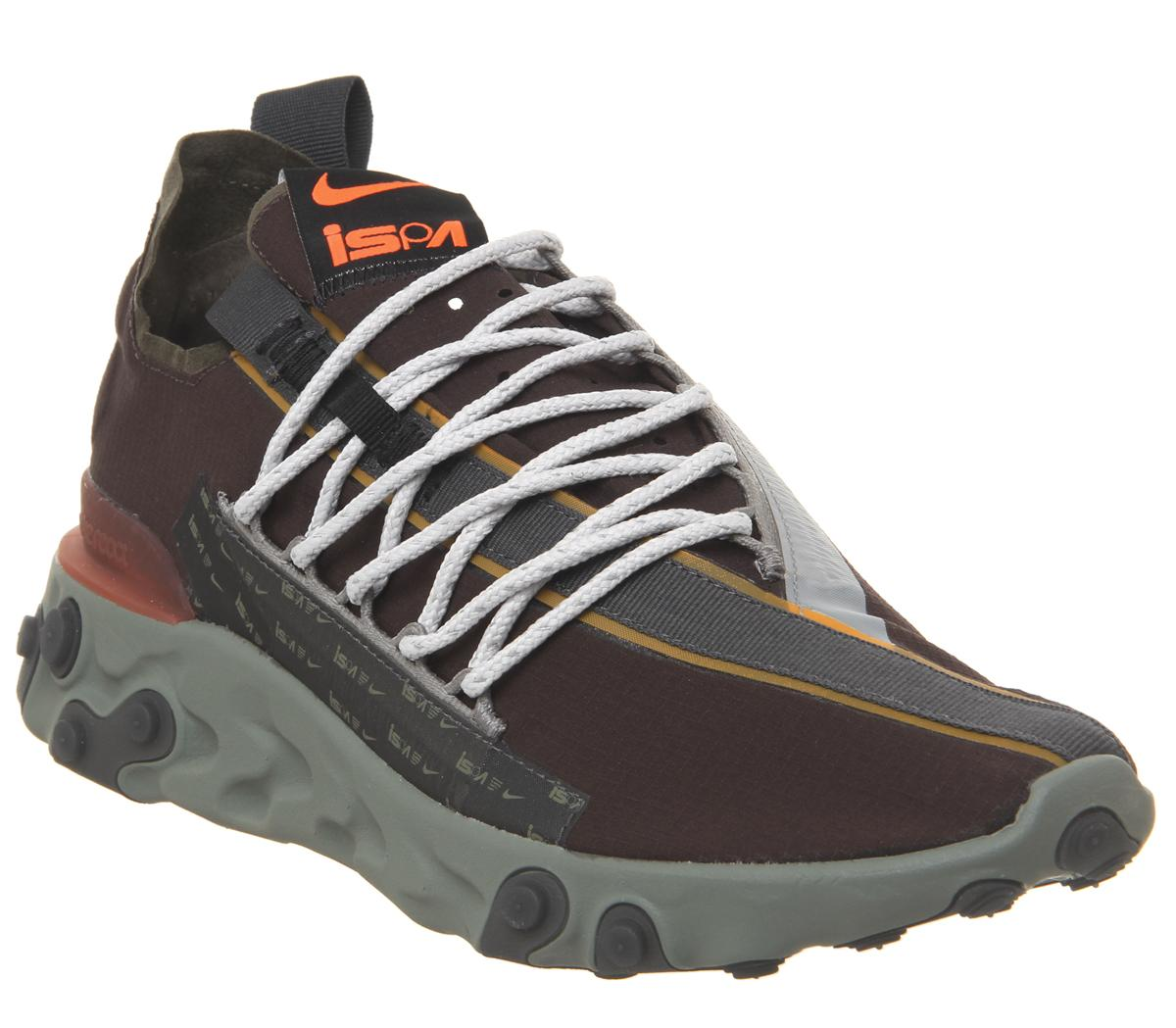 piano Disminución Plausible  Nike React Runner WR ISPA Trainers Velvet Brown Orange Dark Stucco Black -  His trainers