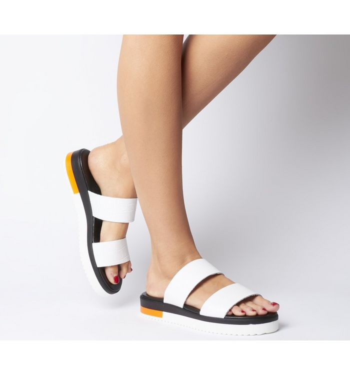 Office Stadium- Double Strap Wedged Sandal WHITE CROC LEATHER