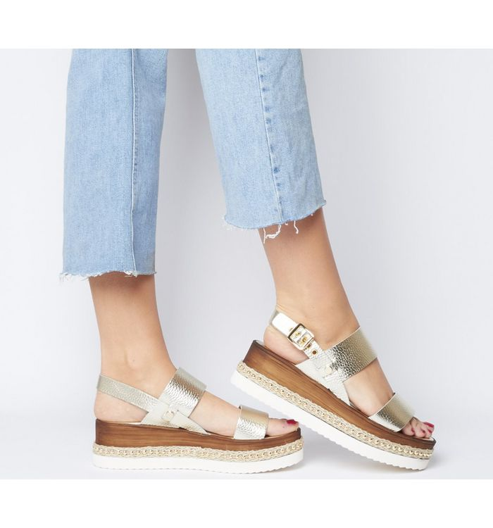 Office Mara Eva Flatform Wedge GOLD WITH GOLD STUDS