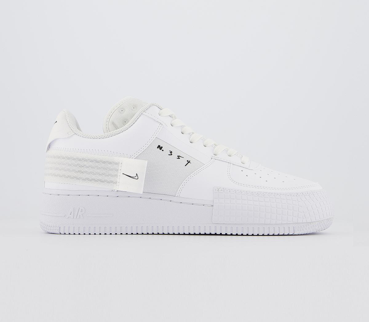 Nike Air Force 1 Type Trainers White Black White His trainers