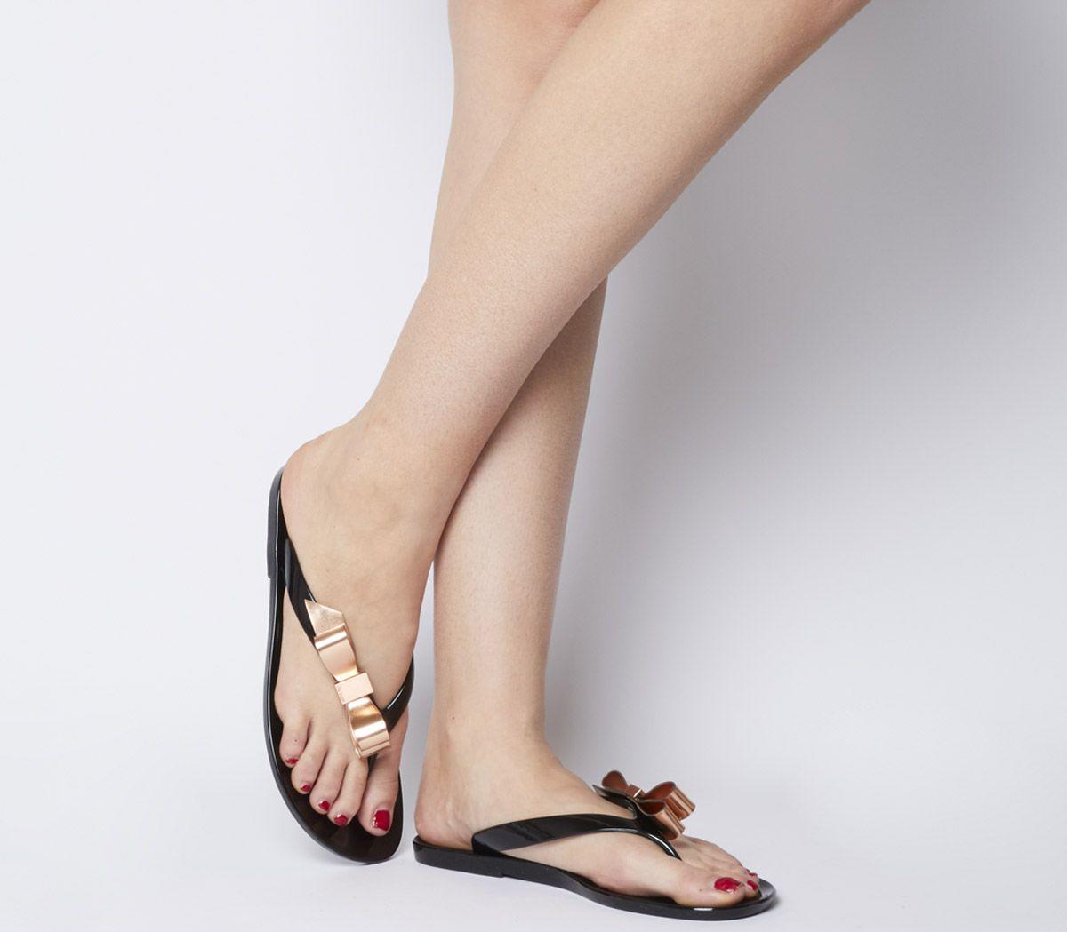 7fed2065e2220e Ted Baker Suszie Flip Flops Black Rose Gold - Sandals