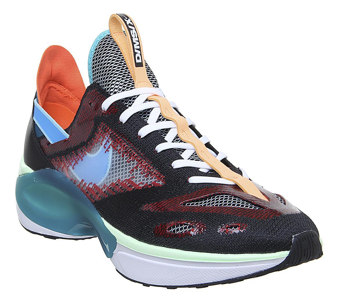 Walter Cunningham Insignia cinta  Nike Dimsix N110 Flyknit Trainers Black Blue Hero Blue Gaze University Red  - Unisex Sports