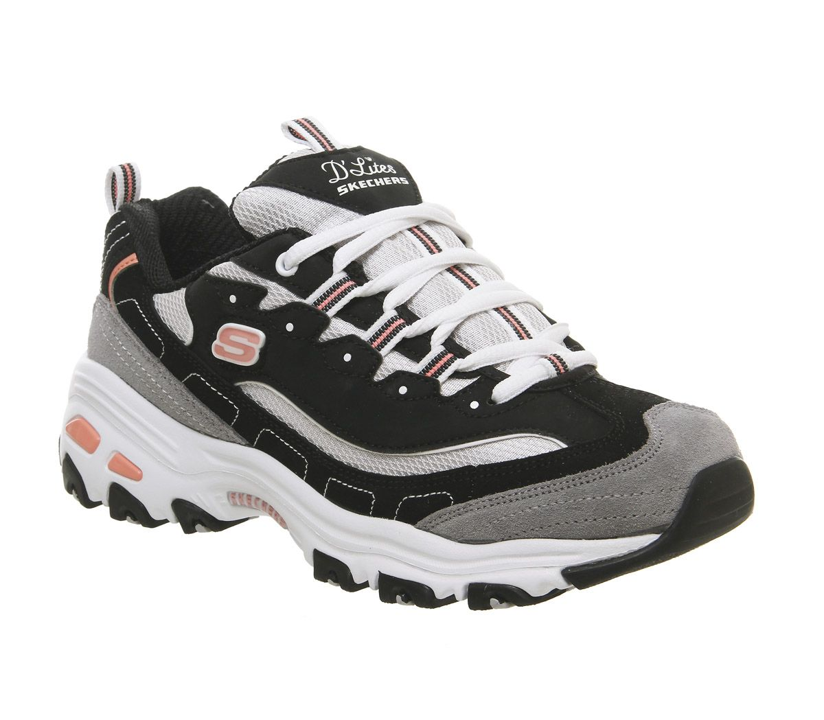 b7f1cb87d8 Skechers D'lites Trainers Black White Pink Grey - Hers trainers
