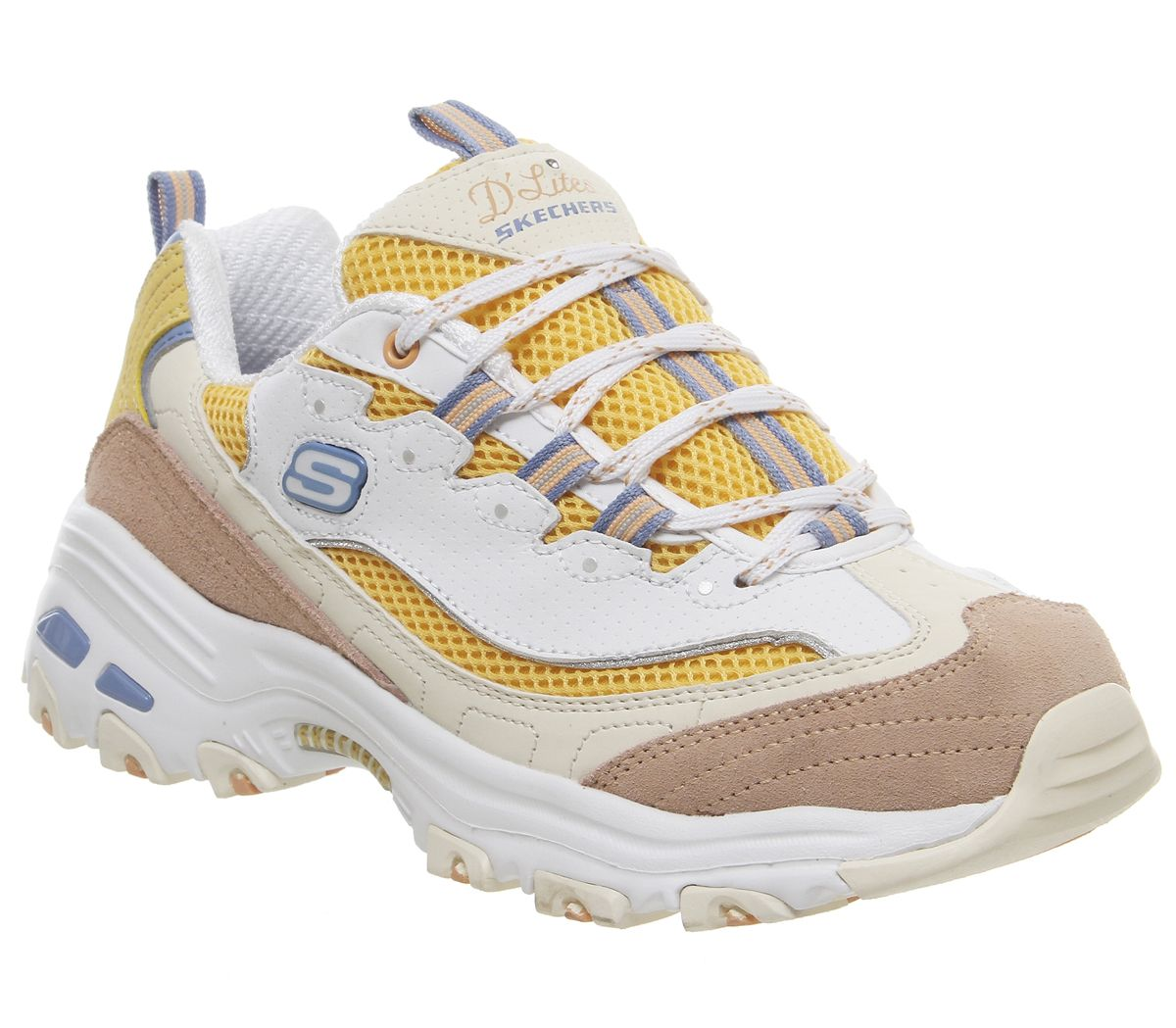 best service ab62e 6094f Skechers D lites White Yellow Pink - Hers trainers
