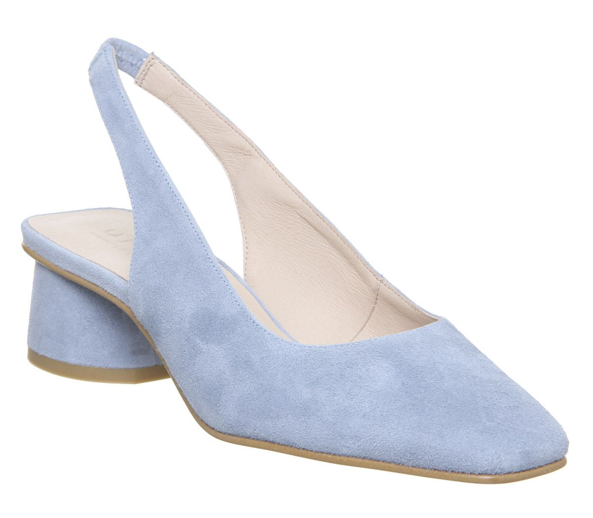 045d55df1b Office Manners Slingback Flared Heel Court Pale Blue Suede - Mid Heels