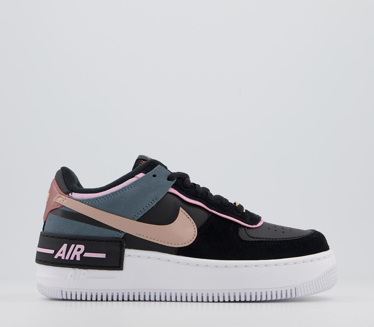Nike Air Force 1 Shadow Trainers Black Metallic Red Bronze Light Artic Pink Hers Trainers Chunky foam sole with signature air cushioning. air force 1 shadow trainers