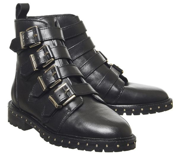 Office Athens Multi Strap Flat Boots Black Leather Gold Hardware - Ankle Boots 1sWYLaA