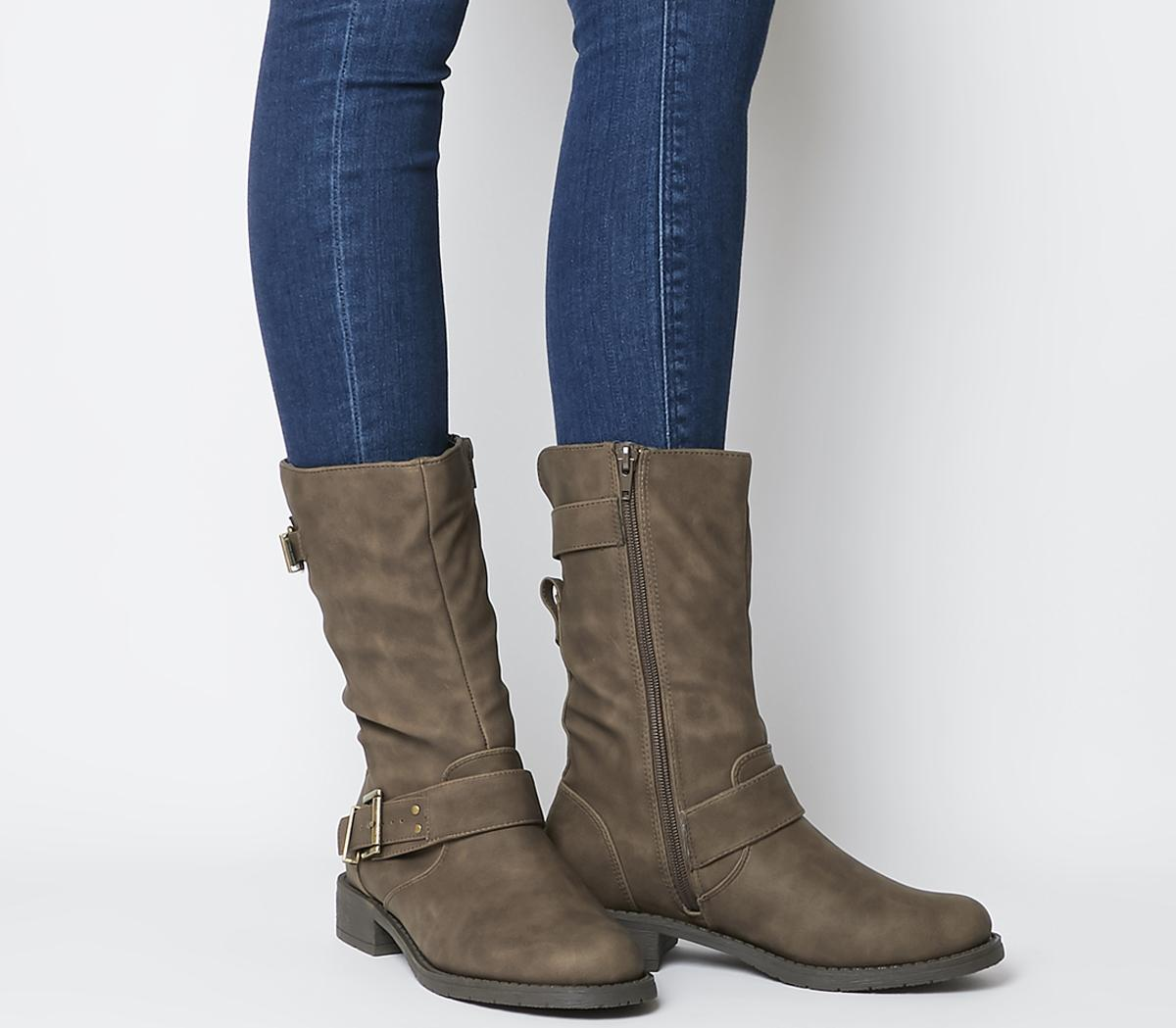 Kim Flat Calf Biker Boots
