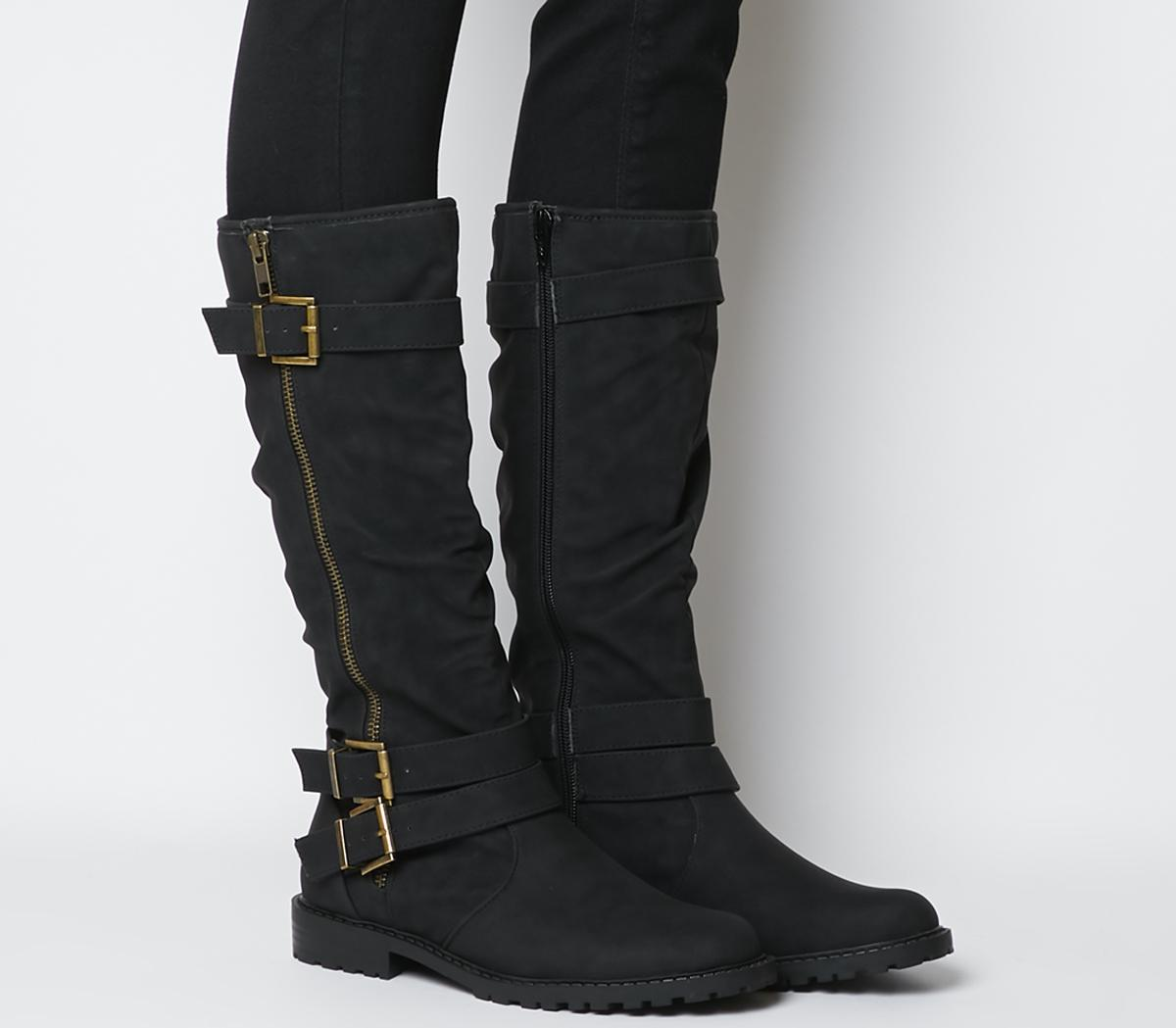Kirsty Flat Buckle Knee Boots