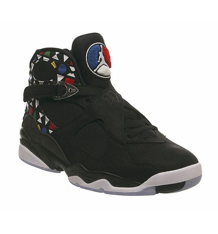 2f71449d22c ... Jordan, Air Jordan 8 Retro Q54 Trainers, Black White Multi Color ...
