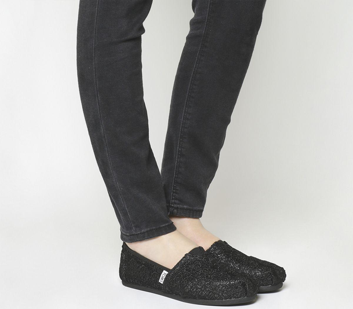 Toms Seasonal Classic Slip Ons Black Crochet Glitter Flats