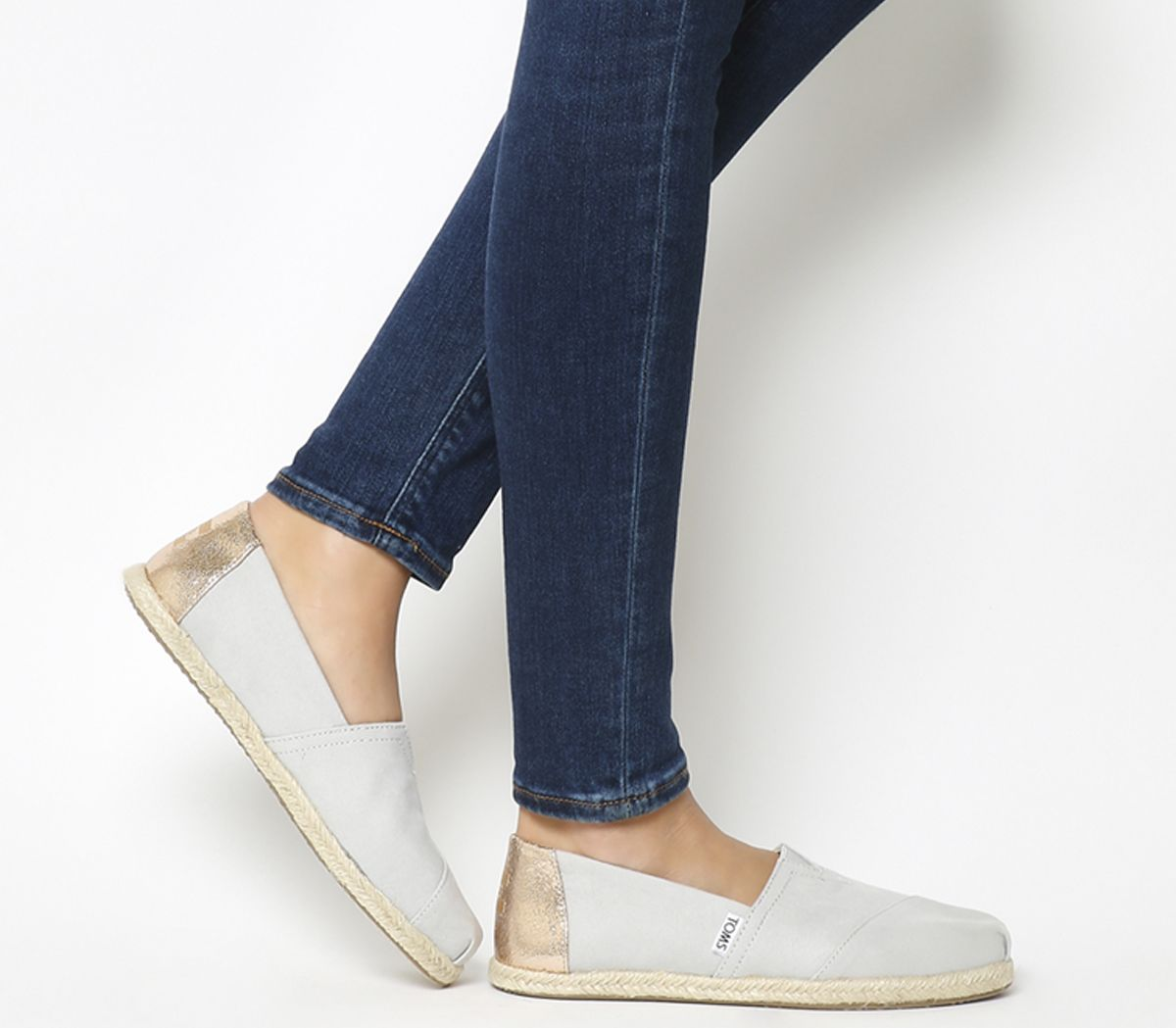 5287637115d Toms Seasonal Classic Slip On Grey Violet Rose Gold Rope - Flats