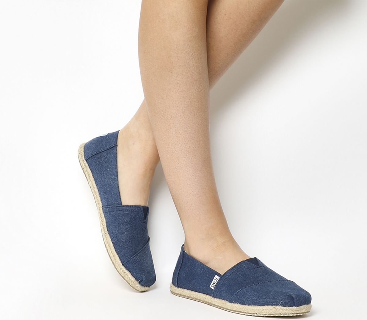 f6317b19695 Toms Seasonal Classic Slip On Washed Navy Canvas Rope Sole - Flats