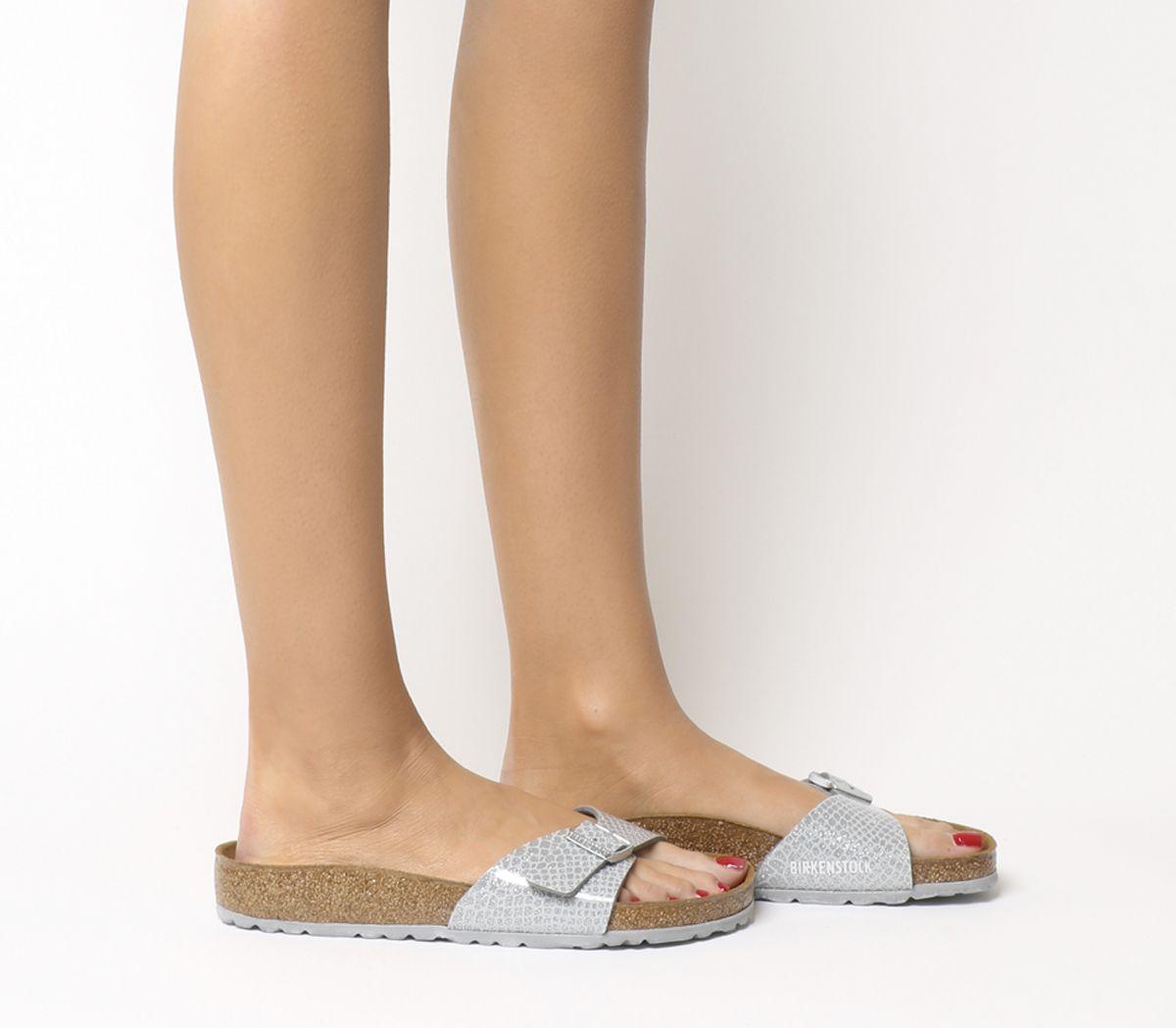 0d2a20d84e304c Birkenstock Madrid 1 Bar Mules Magic Snake Silver - Sandals