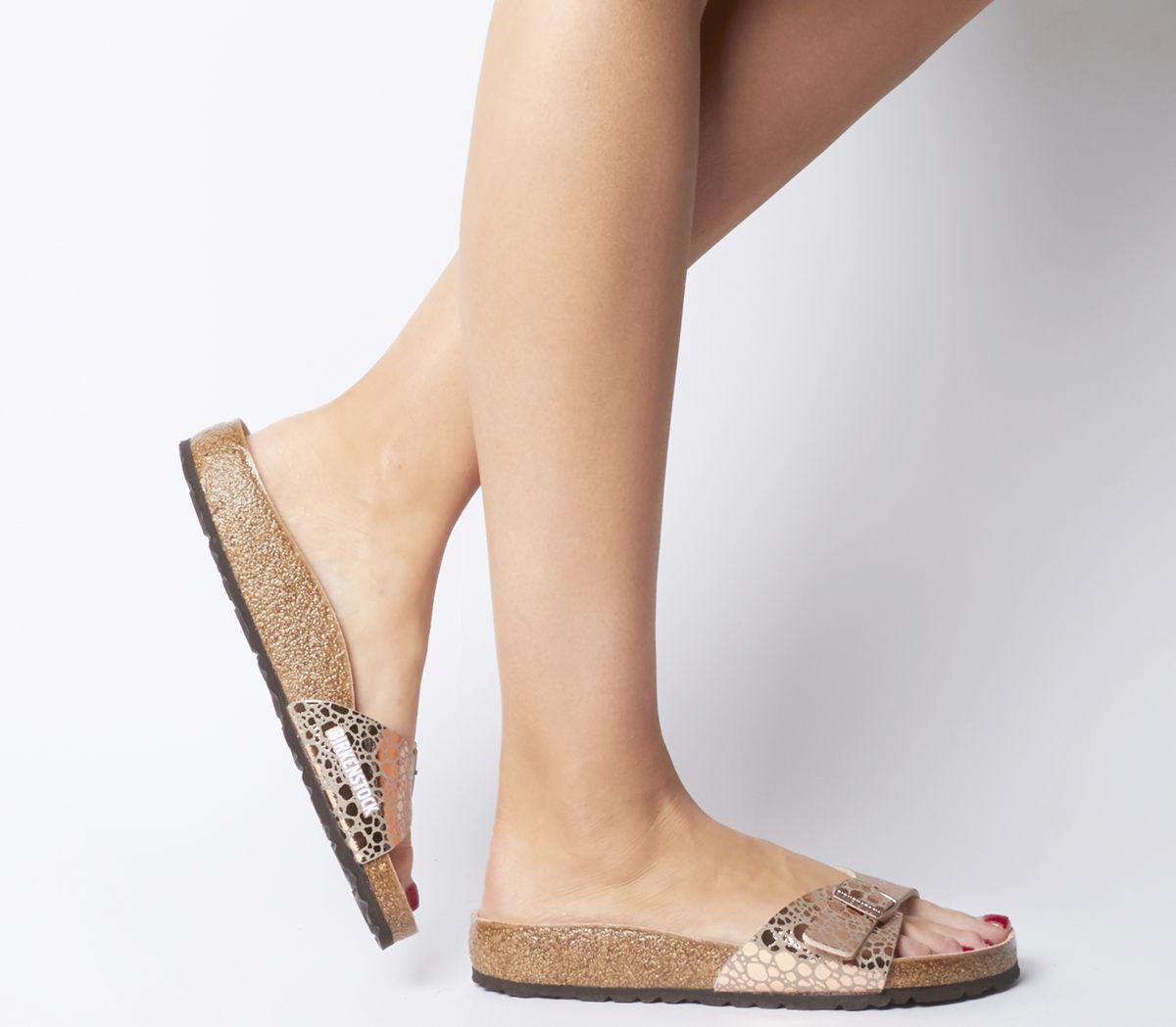 25465f60c010 Birkenstock Madrid 1 Bar Mules Metallic Stones Copper - Sandals