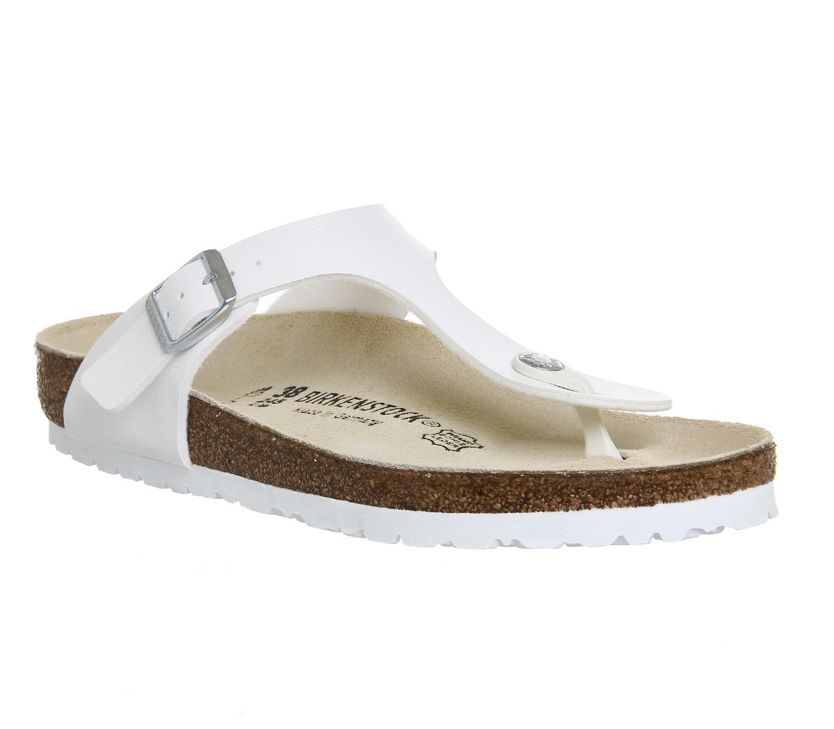 3448b2530 Birkenstock Gizeh Toe Thong Footbed White Synthetic - Sandals