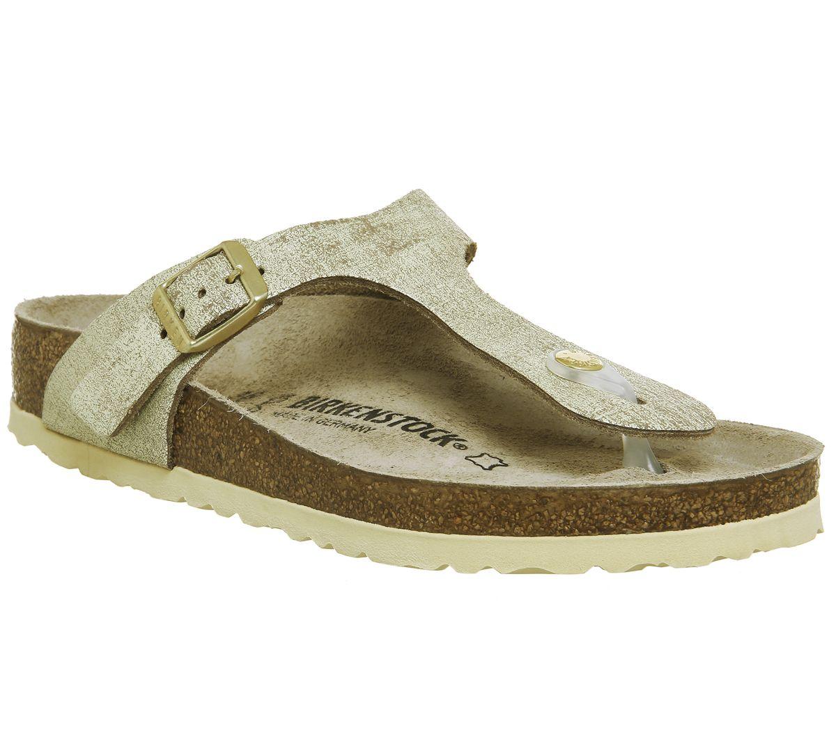 73ddd2fa5d0 Birkenstock Gizeh Toe Thong Sandals Washed Metallic Cream Gold - Sandals