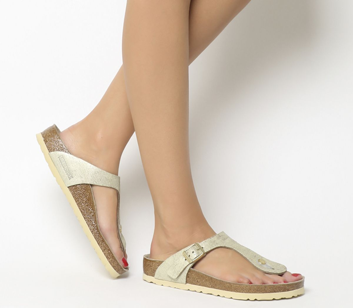 d6caf6265df7 Birkenstock Gizeh Toe Thong Sandals Washed Metallic Cream Gold - Sandals