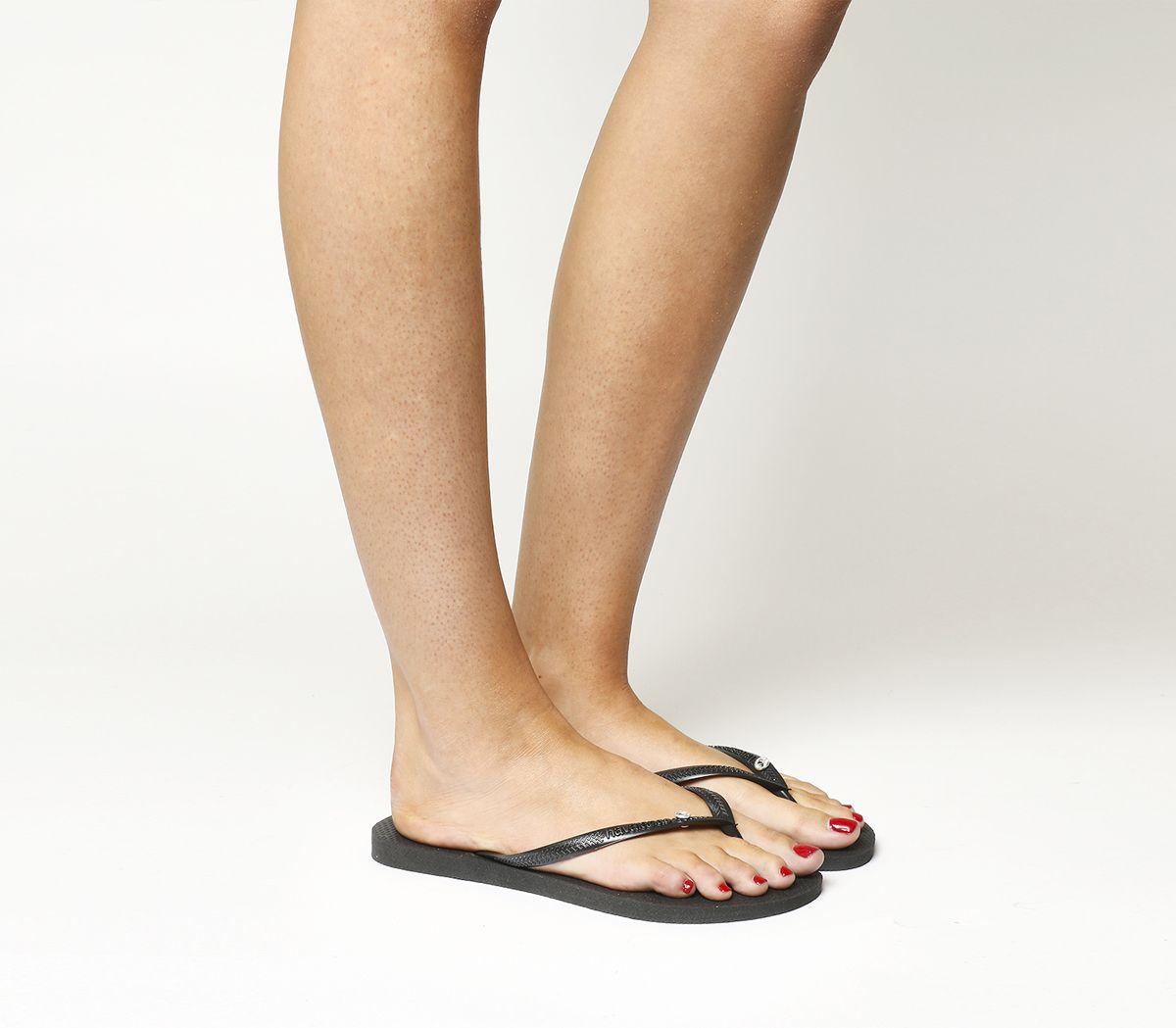 4d7236fe0 Havaianas Slim Crystal Glamour Black Rubber - Sandals