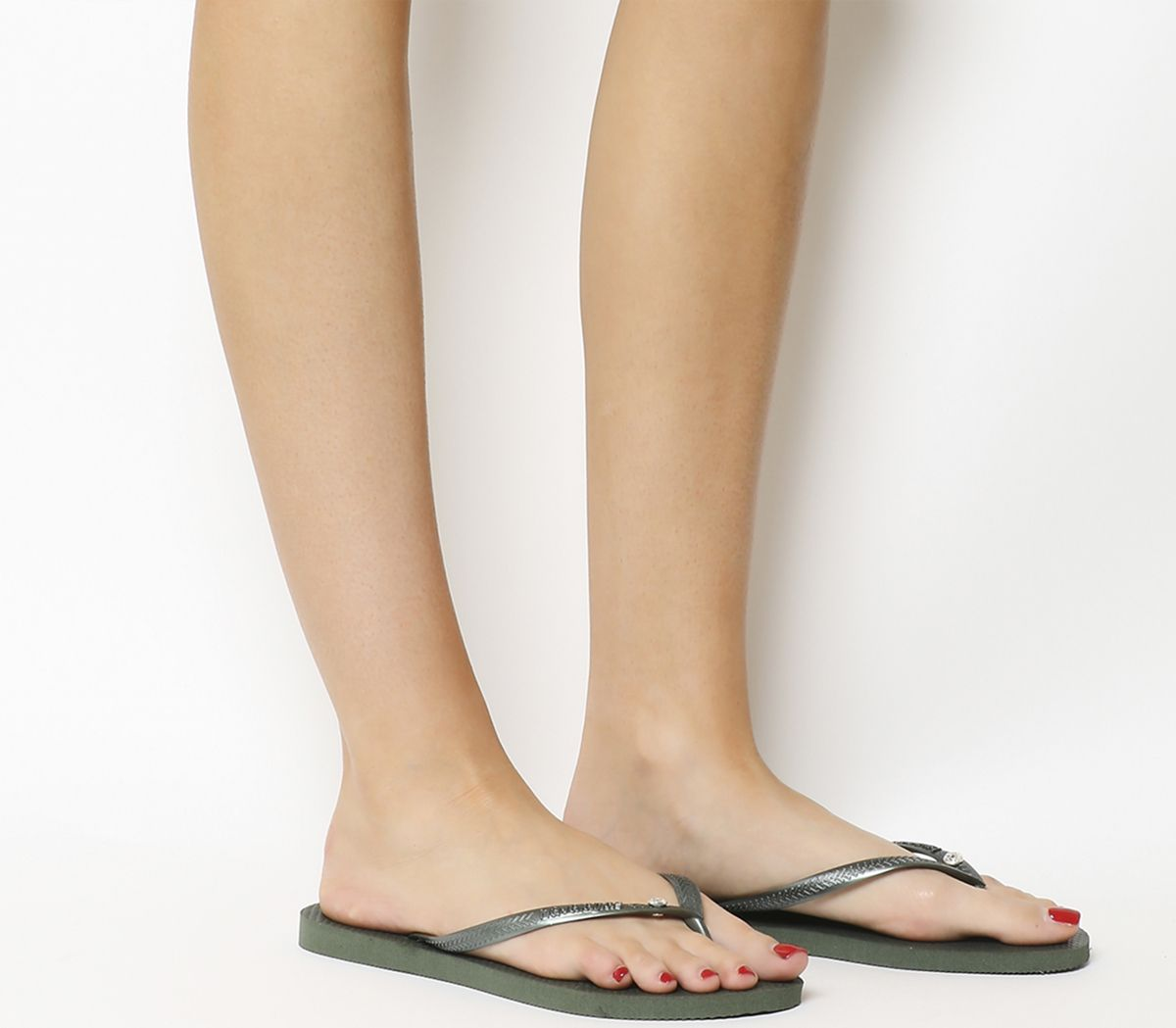 8be508a96ebb Havaianas Slim Crystal Glamour Flip Flops Olive - Sandals