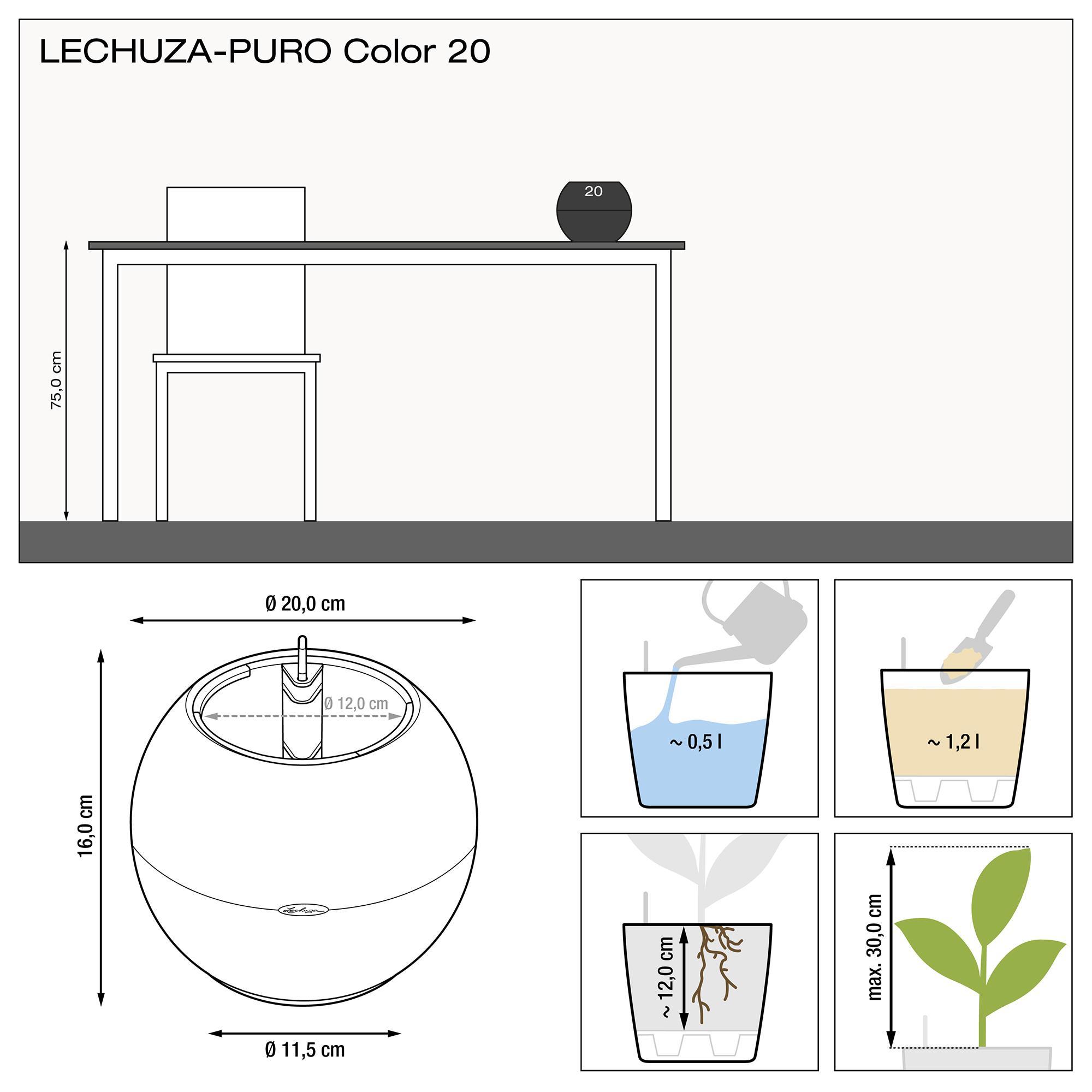 LECHUZA-PURO Color 20 gris ardoise - Image 3