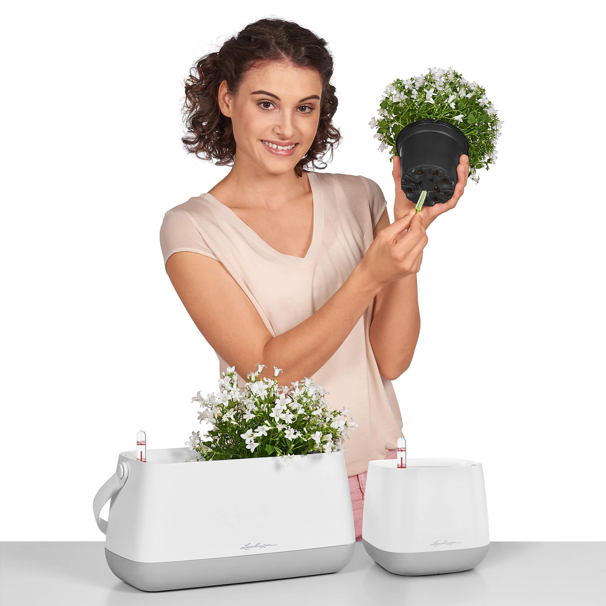 YULA planter white/gray semi-gloss - Image 4