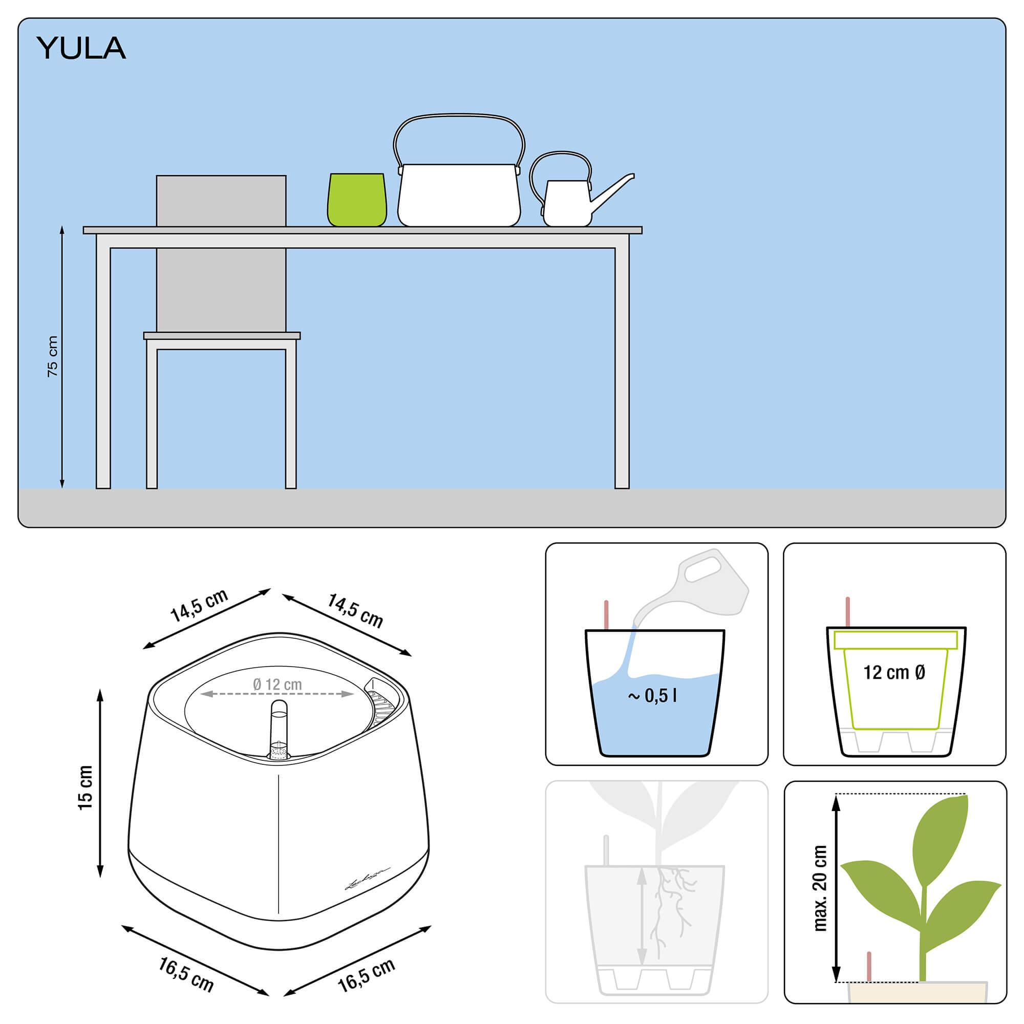 YULA planter white/gray semi-gloss - Image 2