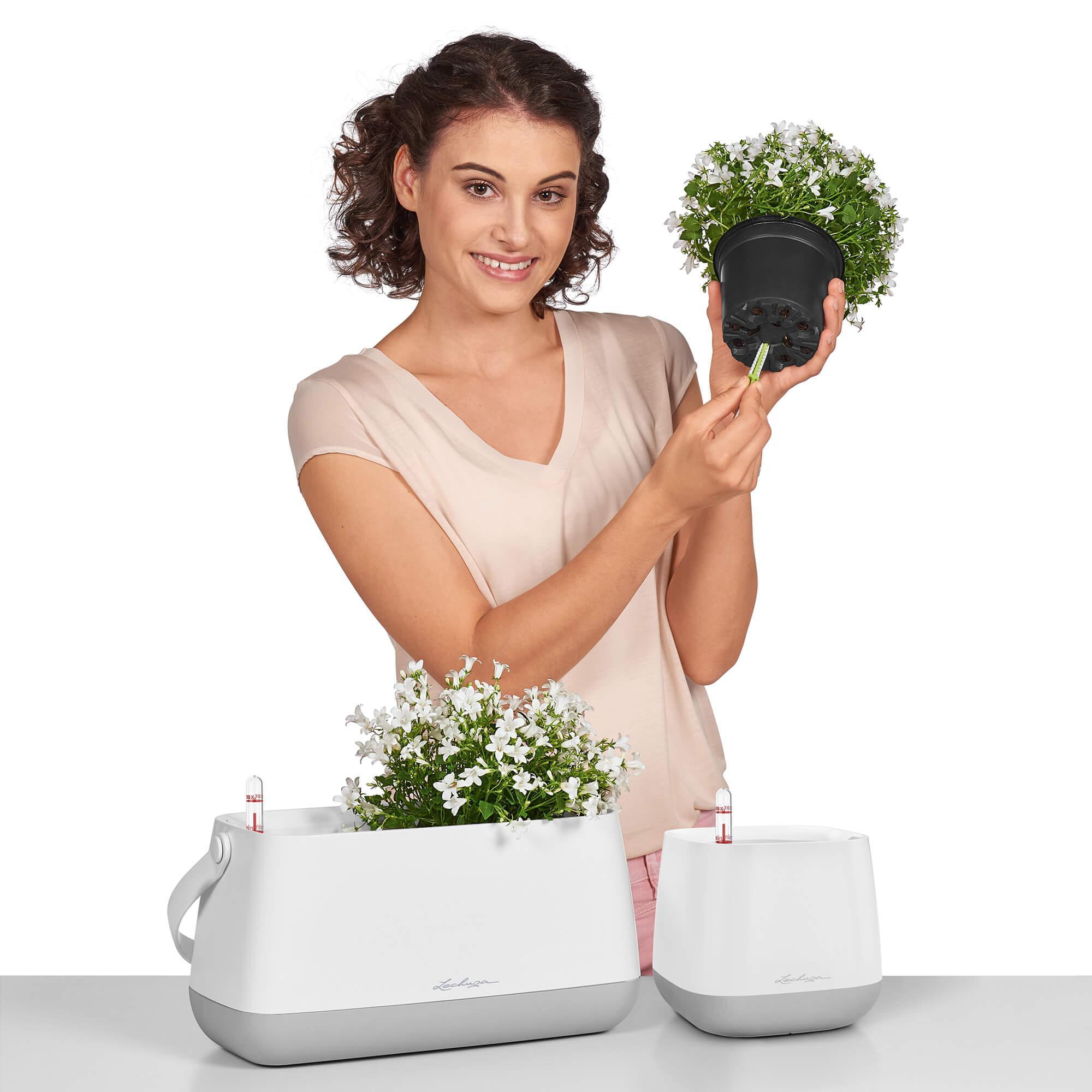 Maceta para plantar YULA blanco/gris satinado - Imagen 4