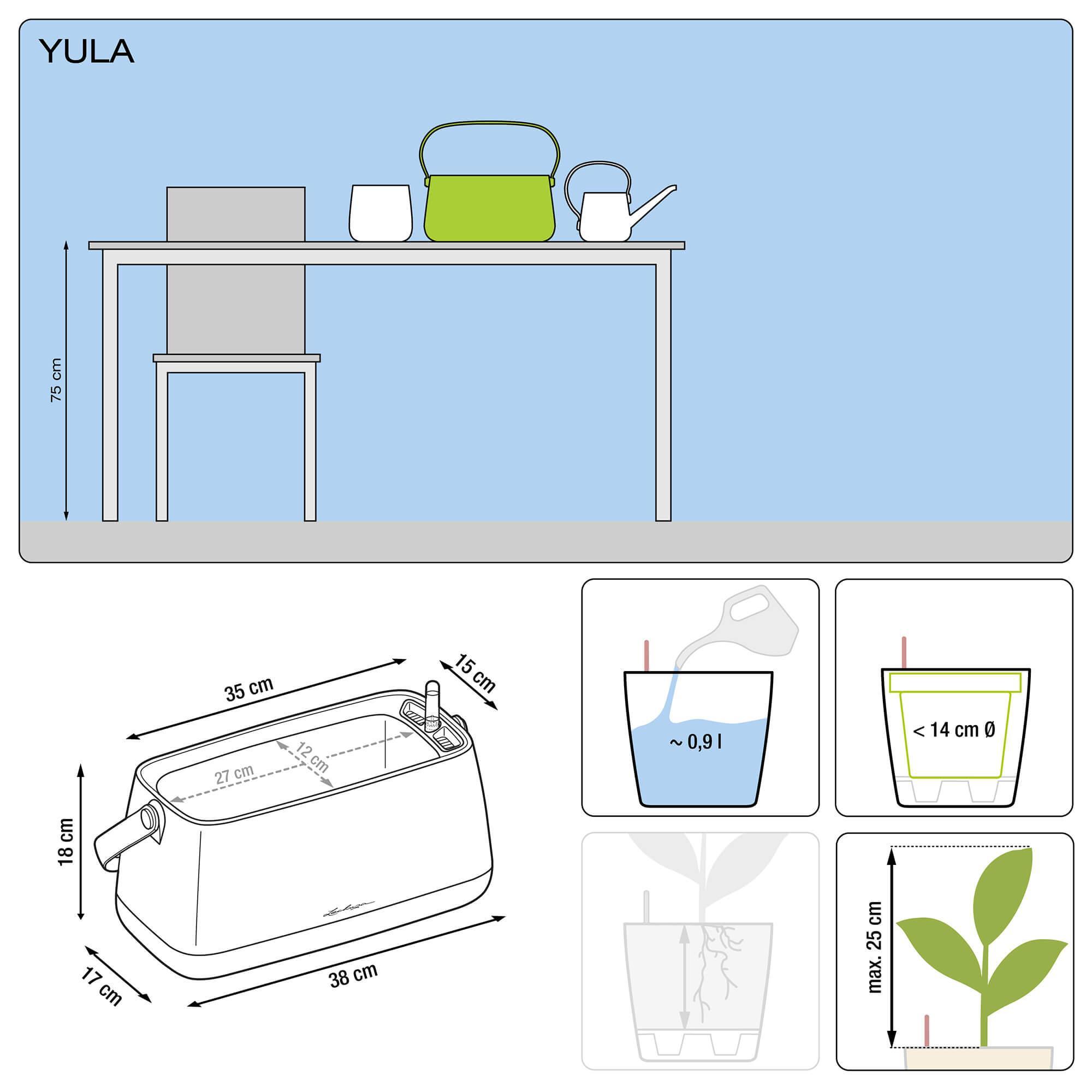 Maceta para plantar YULA blanco/gris satinado - Imagen 2