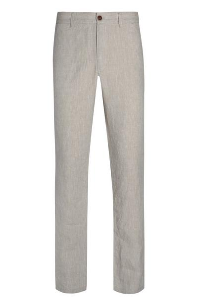 Graue Slim-Fit-Leinenhose