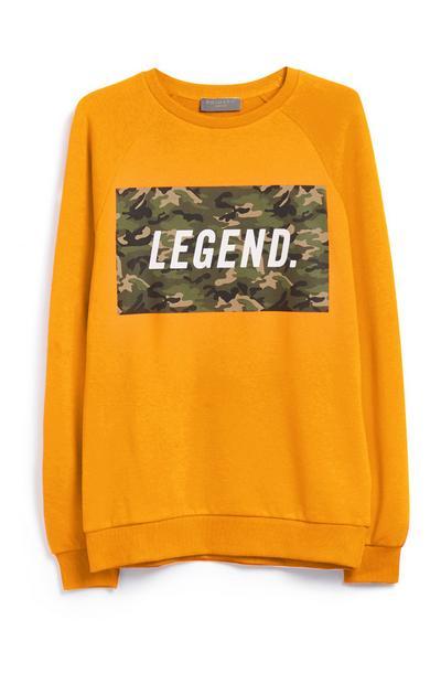 """Gelbes """"Legend"""" Sweatshirt mit Muster"""