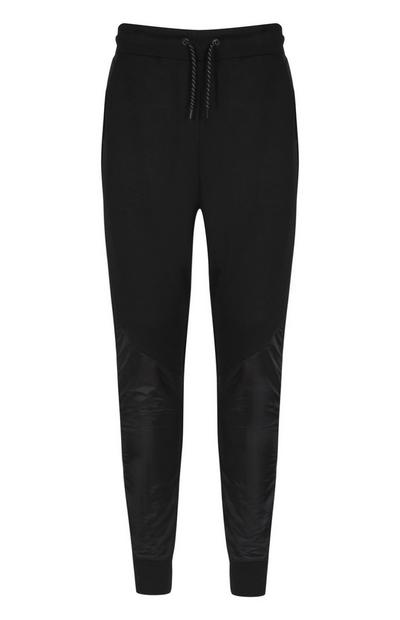 Schwarze Nylon-Jogginghose