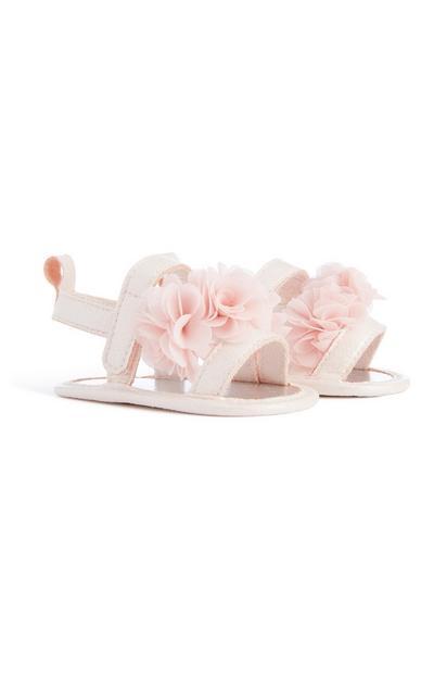 Rosa Sandalen mit Blumen für Babys (M)