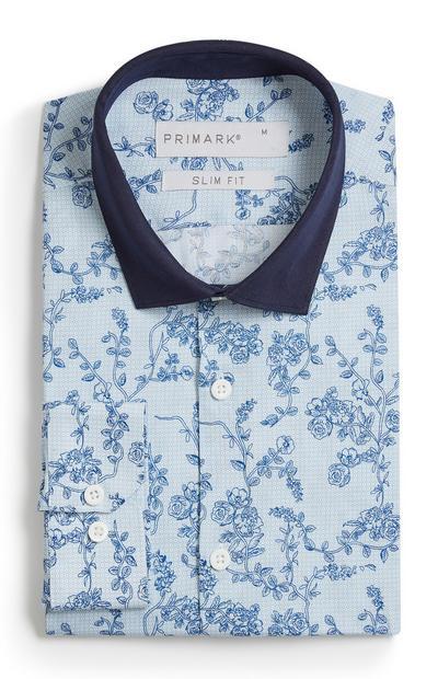Blaues Hemd mit Blumenprint