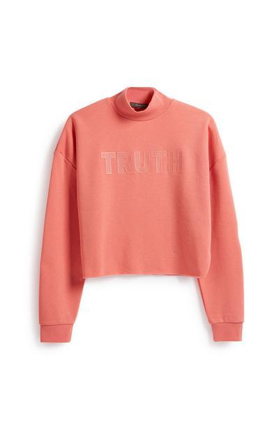 Korallfarbenes Sweatshirt mit Slogan