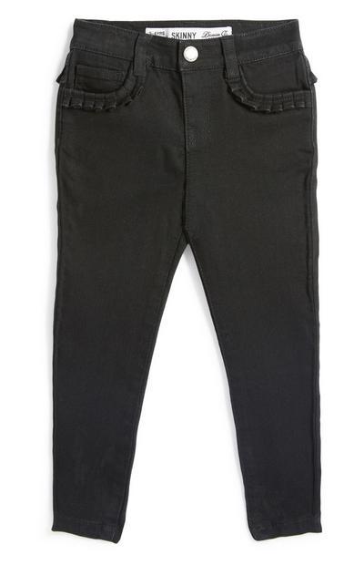 Schwarze Jeans mit gerüschten Taschen