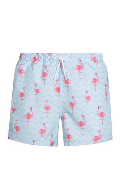 Blaue Badeshorts mit Flamingo-Muster