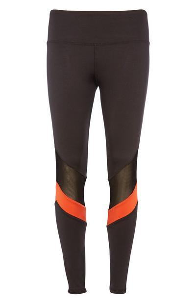Black Mesh Stripe Legging