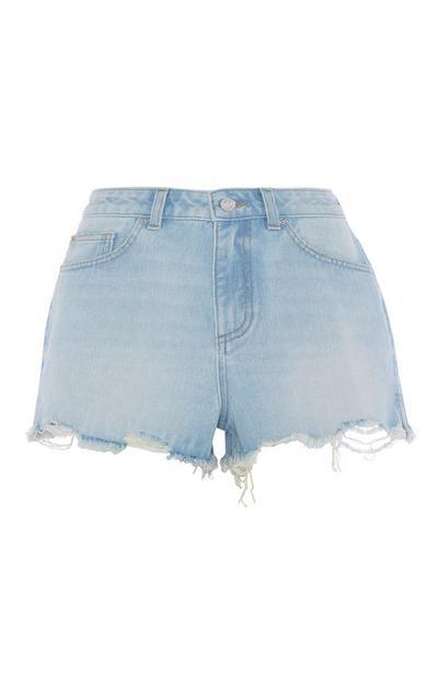 Hochtaillierte Shorts in Hellblau