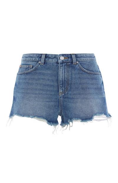 Hochtaillierte Shorts in Mittelblau